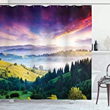 Ambesonne Europe Nature Decor Collection, Majestic Carpathian Mountain in Ukraine Forest Landscape Image, Polyester Fabric Bathroom Shower Curtain Set with Hooks, Green Navy Magenta Orange