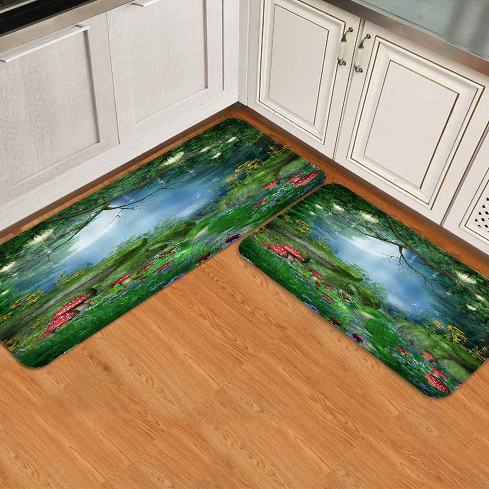 FOURFOOL Ranking TOP7 Topics on TV Kitchen Rugs Sets 2 Piece Fantasy Red Forest Mush Fairy