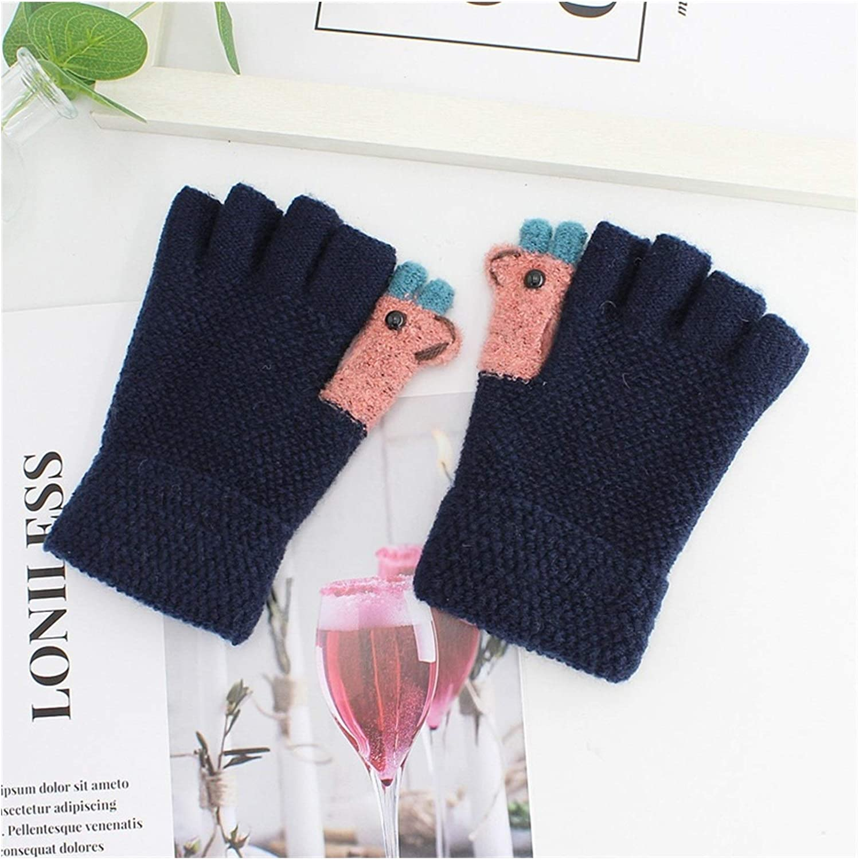 JBIVWW Women Autumn Winter Half Finger Knitted Gloves Soft Warm Elastic Fingerless Gloves (Color : Navy Blue, Gloves Size : One Size)