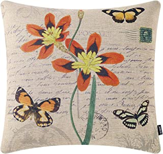 TRENDIN Throw Pillow Cover 18x18 Inch Vintage Flower Butterfly Cushion Case for Sofa Couch Home Decor Square French Countr...