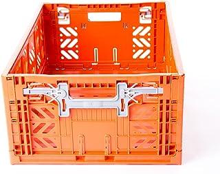 AYKASA Collapsible Storage Bin Container Basket Tote, Folding Basket Crate Container : Storage, Kitchen, Houseware Utility Basket Tote Crate = Maxi-Box Comfort Lock (Orange)
