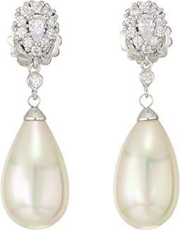 Majorica - 16mm Pear Shaped Pearl with CZ Sterling Silver Earrings