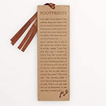 Footprints Poem in Tan Faux Leather Leather Bookmark
