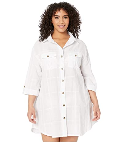 DOTTI Plus Size Travel Muse Shirtdress Cover-Up (White) Women