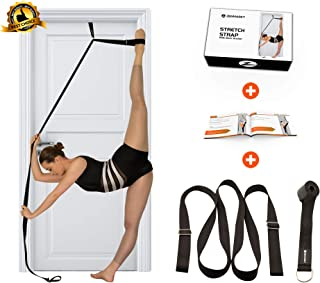Stretch Strap with Door Anchor – Improve Leg Stretching with Door Flexibility Trainer - Perfect Home Equipment for Ballet, Dance, MMA, Taekwondo, Yoga & Gymnastics Exercises - Booklet & Box Included