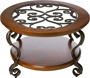 Signature Design by Ashley - Nestor Traditional Glass Top Oval Coffee Table w/ Fixed Shelf, Medium Brown
