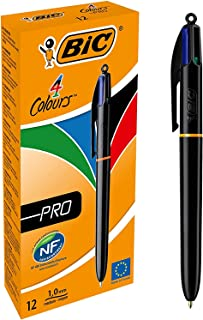 BIC 4 Colours Pro Retractable Ballpoint Pen with Four Ink Colours and Medium Point (1.0 mm), Pack of 12