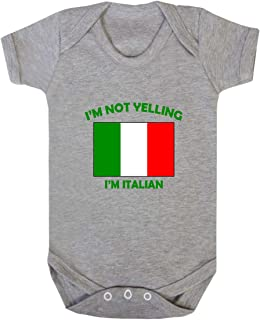 I'm Not Yelling I Am Italian Italy Baby Bodysuit One Piece Oxford Gray 6 Months