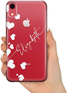 TULLUN Custom Case for iPhone 7/8 - Flexible Soft Gel Shockproof Clear Name & Hearts Phone Case Cover for iPhone 7/8 - Name and Hearts White V1