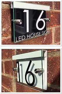 MODERN HOUSE SIGN PLAQUE DOOR NUMBER STREET GLASS ACRYLIC BLACK/WHITE LED HOLDER
