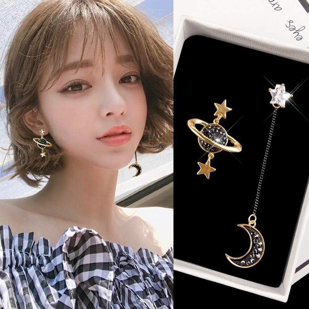 weichuang Clip on Earrings Korean Japan Creative Cute Universe Planet Moon Star No Pierced Asymmetirc Design Ear Clips for Women (Metal Color : 5229)