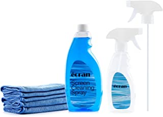 Ecran Screen Cleaning Kit with 16.9 oz Screen Cleaning Fluid   8.45 oz Empty Spray Bottle   5 Microfiber Cleaning Cloths 11.8