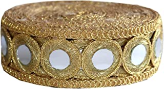 Mirror Work Border by 9 Yard - Black Mirror Work Gota Patti Lace,Glass Beads,Stone Work Bollywood Sari,Wedding Saree Border Embroidered Ribbons Indian Trim Embellishmets