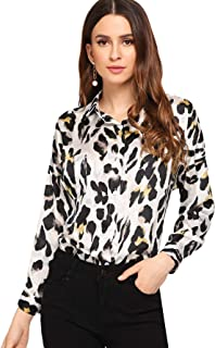 c1bbcc5c8d SheIn Women's Casual Long Sleeve Button Down Shirt Leopard Print Blouse Top
