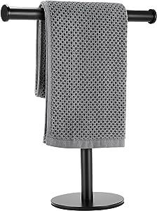 "Towel Holder Stand Towel Rack,T-Shape Hand Towel Stand,Modern Hand Towel Rack, SUS304 Stainless Steel T Hand Towel Holder Brushed, Height 13"" with Gravity Base Towel Racks for Bathroom Kitchen Vanity"