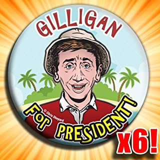 Gilligan for President - Six Pack Buttons - Political Satire - 6 Badges - 2.25 Inch Pinbacks - Gag Joke Funny - Bob Denver - Gilligans Island