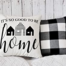 PANDICORN Set of 2 Farmhouse Pillows Covers for Home Décor, Black Buffalo Plaid Check Throw Pillow Cases with Quote It's So Good to Be Home, 18 x 18 Inch