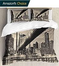 PRUNUSHOME Hotel Luxury Bed Sheet Set-Sale Queensboro Bridge NYC Night Sepia Artprints Urban City View Modern Selection Gray - Queen