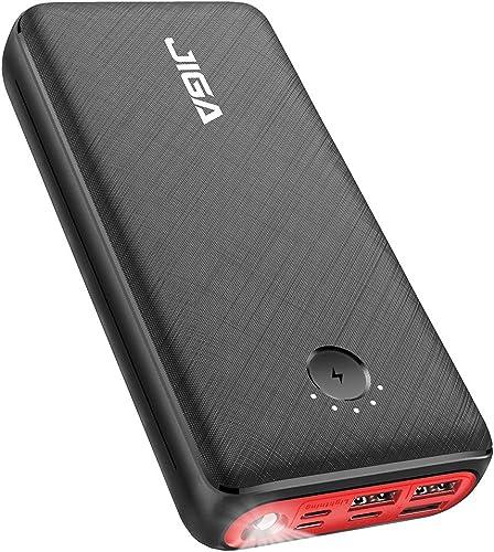 JIGA Batterie Externe 30000mAh Chargeur Portable Grande Capacité Rapide avec 3 Ports USB Sortie et 3 Entrées et Lampe...