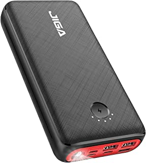 JIGA 30000mAh Portable Charger, Fast Charging USB C Power Bank with 3 Outputs & 3 Inputs & Flashlight, Ultra High Capacity...