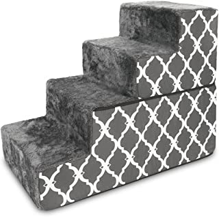 Made in USA Foldable Pet Steps/Stairs with CertiPUR-US Certified Foam by Best Pet Supplies - Gray Lattice, 4-Steps
