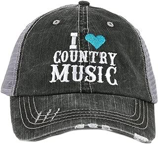 Katydid I Love Country Music Women's Distressed Trucker Hat-Teal