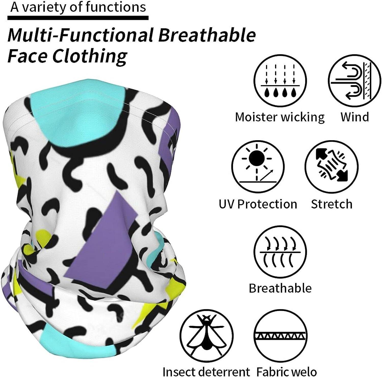 Retro 80s Geometric Triangle Neck Gaiter Multipurpose Headwear Ice Silk Mask Scarf Summer Cool Breathable Outdoor Sport 2 Pcs