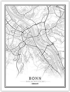 LucklyingBao Impresiones sobre Lienzo,Póster De Mapa De La Ciudad del Mundo Blanco Y..