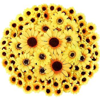 CEWOR 250pcs Artificial Silk Sunflower Heads 1.8'' 3'' 3.9'' Fake Faux Flower Heads Yellow Floral for Wedding Centerpieces Decor Home Decoration Garden Wreath Art Craft (Multi Size)