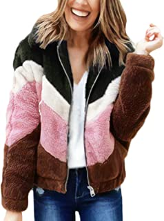 Womens Jacket Casual Lapel Long Sleeve Zip Up Faux Shearing Fuzzy Outwear Coat with Pockets