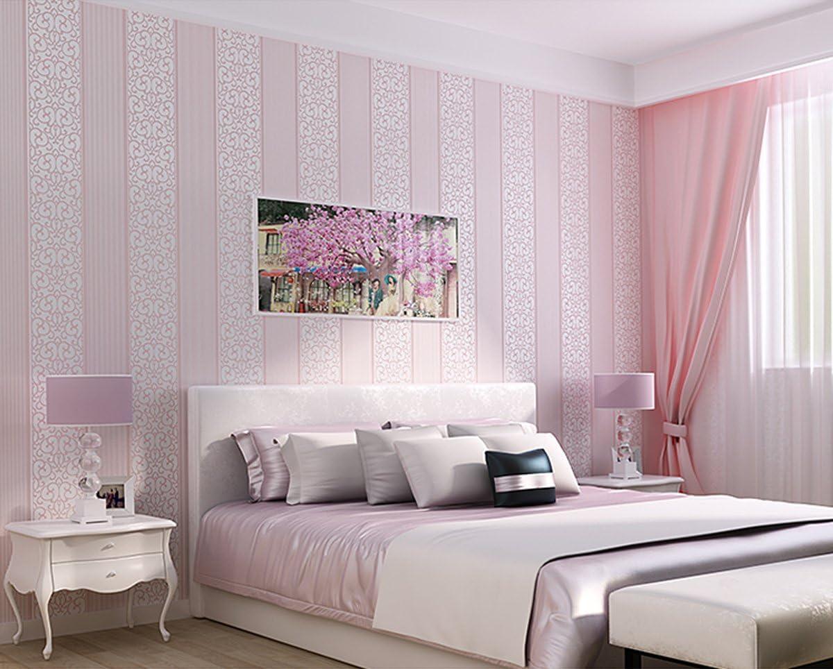Amazon Diy 壁紙シール 簡単 模様替え 3d立体 不織布 壁紙 貼付シールタイプ ストライプ柄 はがせる壁紙 ベッドルーム リビングルームの背景 53cmx5m ピンク 壁紙