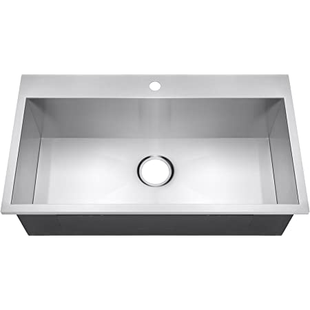 Troiaus Kitchen Stainless Steel Sink 32 X 18 X 9 Single Bowl Undermount 16 Ga With Grid And Drain By Mcshomegoods
