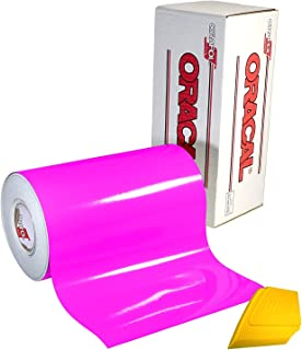 ORACAL 6510 Fluorescent Hot Pink Cast Vinyl Wrap 12 Inch x 30 Inch Roll for Cricut, Silhouette & Cameo Including Hard Yellow Detailer Squeegee (1 Roll Pack)