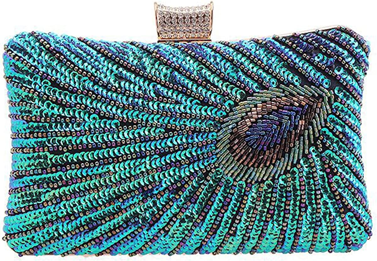 Women's Beaded Sequins Clutch Peacock Feather Fashion Purse Bridesmaid Lady Girl Bride Evening Bag for Prom Party Wedding