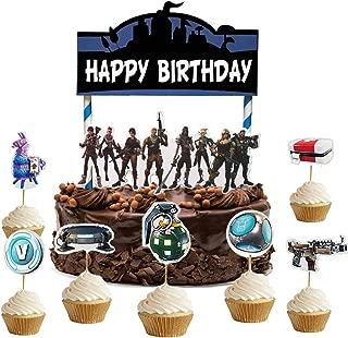 ELSANI Gaming Cake Topper Set 24pcs Cupcake Topper Birthday Party Supplies Decoration