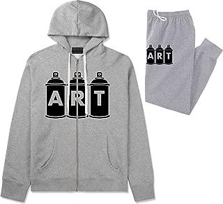Kings Of NY Art Spray Can Graffiti Mens Sweat Suit Hoodie Pants Grey Medium