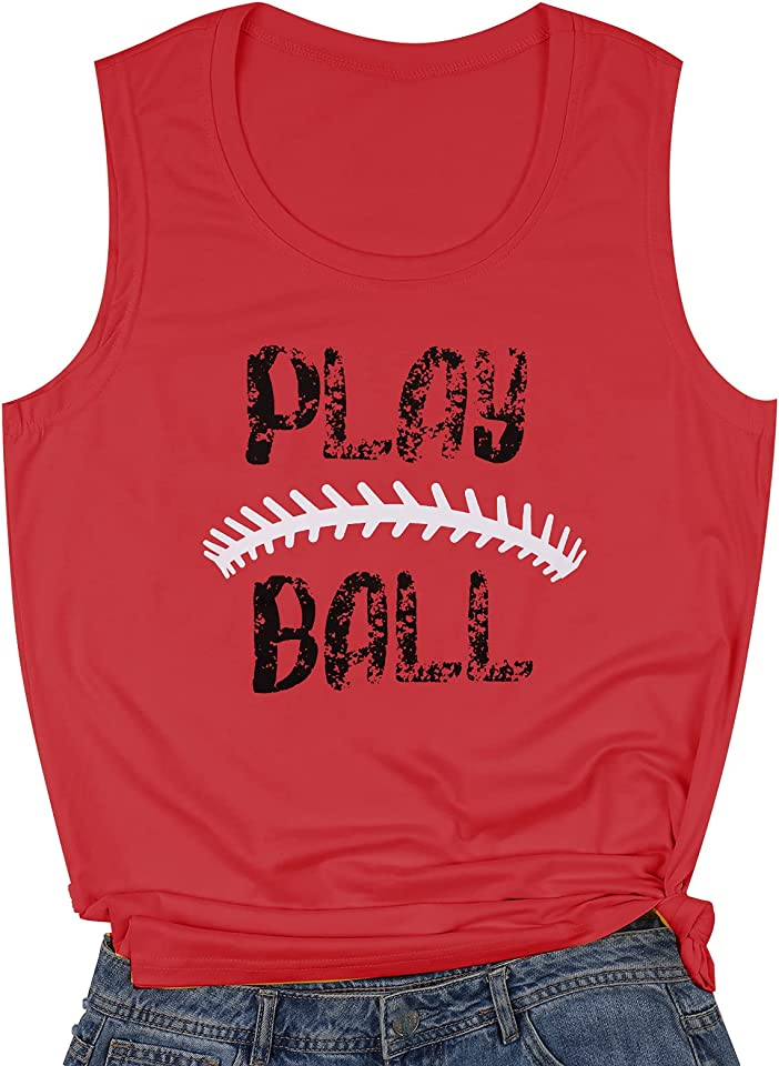 JINTING Play Baseball Tank Tops for Women Letter Printed Baseball Graphic Casual Tank Top