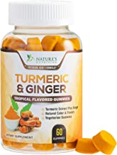 Turmeric Curcumin Gummies with Ginger, Extra Strength Chewable Vitamins Gummy, Best Vegan Joint Support Turmeric - Joint Comfort for Men and Women - 60 Gummies