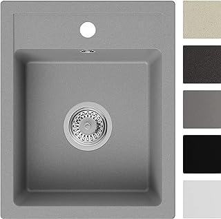 Spülbecken Grau 40 x 50 cm, Granitspüle  Siphon Klassisch, Küchenspüle ab 40er Unterschrank in 5 Farben mit Siphon und Antibakterielle Varianten, Einbauspüle von Primagran
