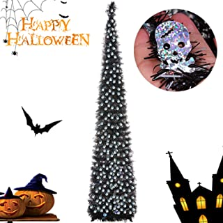 Joy&Leo 5 Foot Halloween Skull Sequin Pop Up Black Tinsel Christmas Tree, Easy to Assemble and Store, for Small Spaces Apartment Fireplace Party Home Office Store Classroom Halloween Decorations