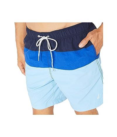 Nautica Color Block Swim Trunk (Blue) Men