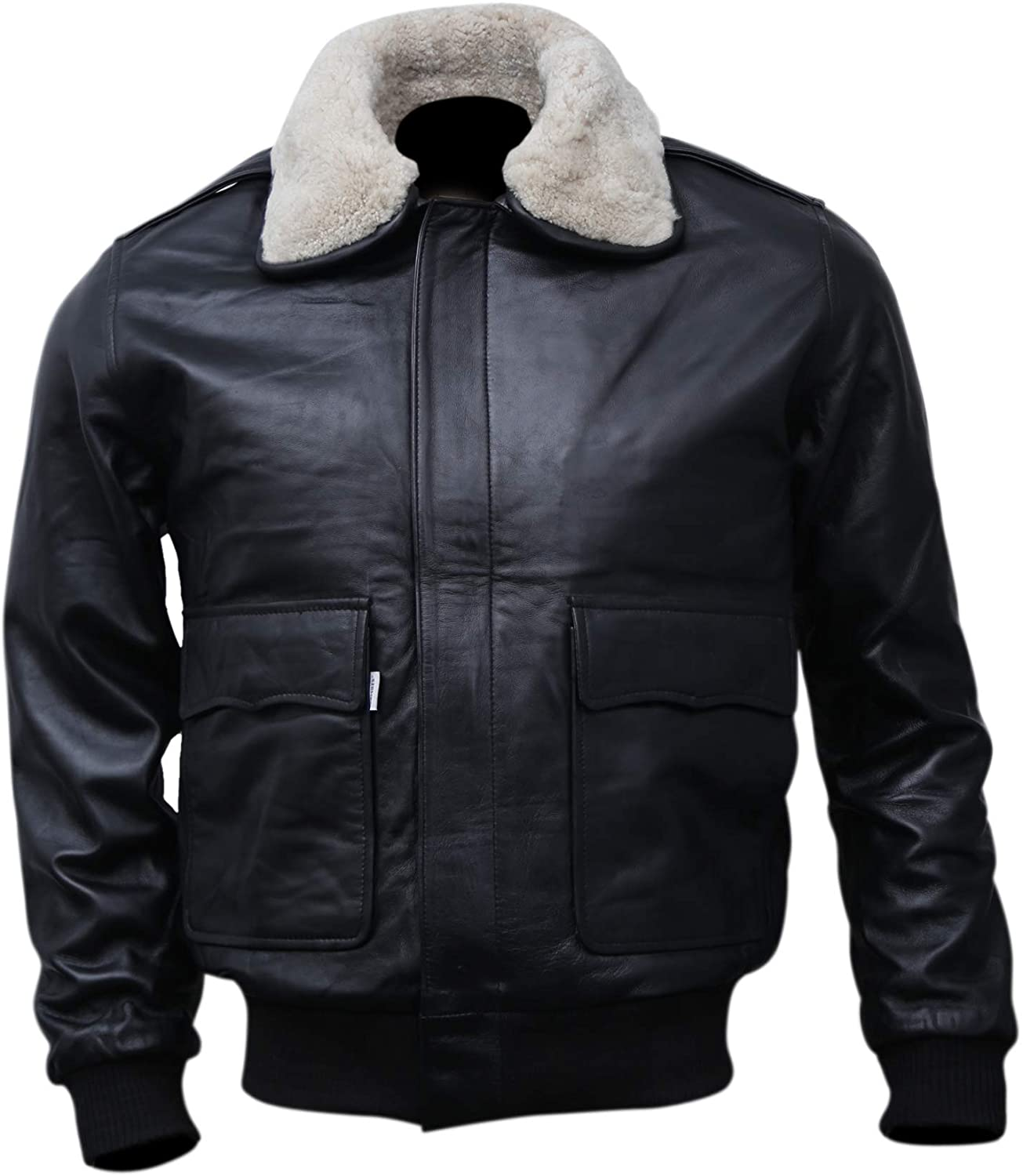 Mens A-2 Flight Bomber Leather Jacket Black | Aviator Air Force Brown Jackets for Men with Real Fur Collar