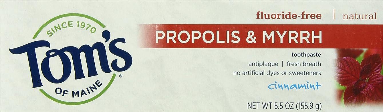 グレード練習した黒くする海外直送品 Tom's Of Maine Propolis & Myrrh Fluoride Free Toothpaste Cinnamint, 5.5 Oz