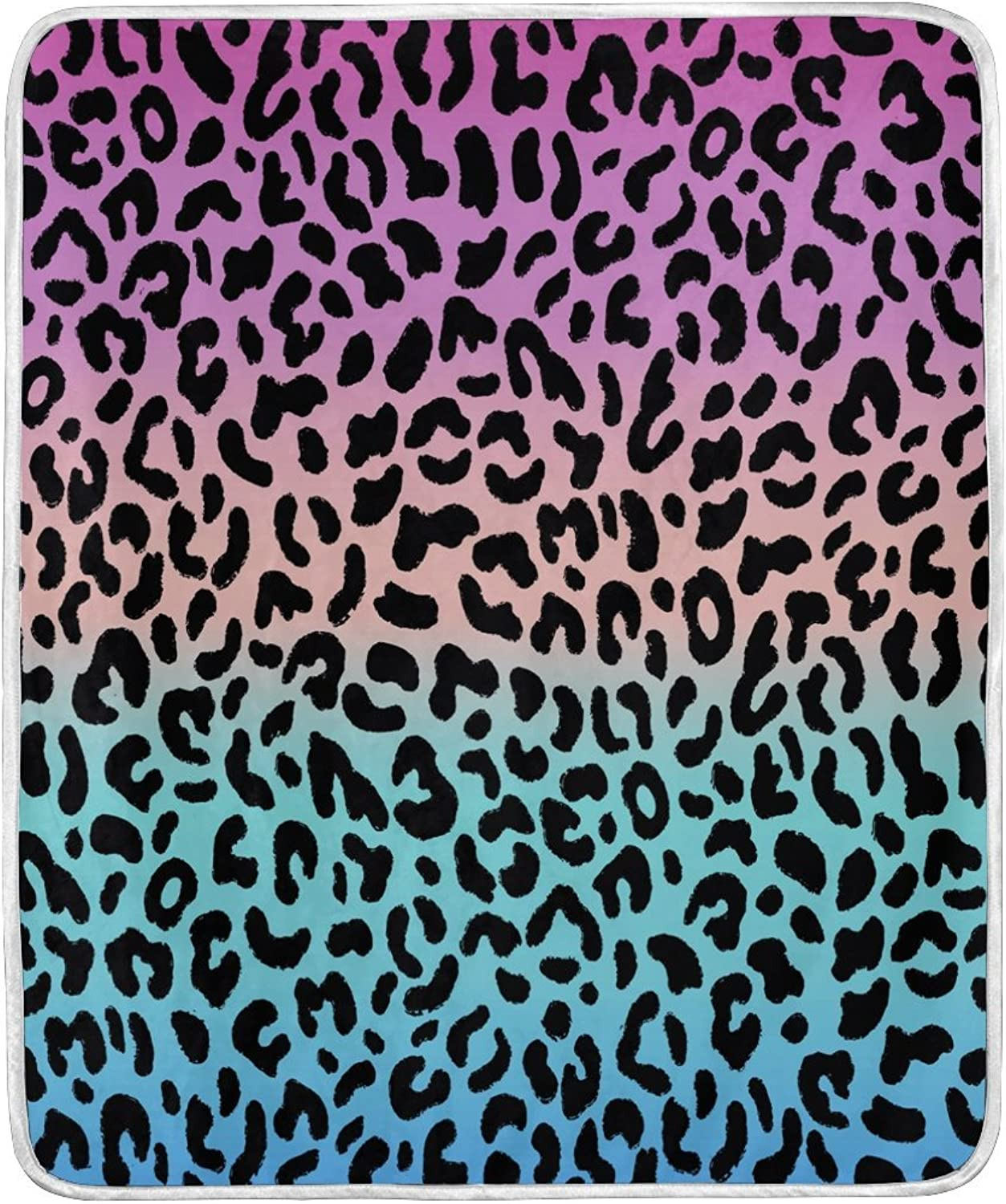 ALAZA Home Decor Cartoon Leopard Print Blanket Soft Warm Blankets for Bed Couch Sofa Lightweight Travelling Camping 60 x 50 Inch Throw Size for Kids Boys Women