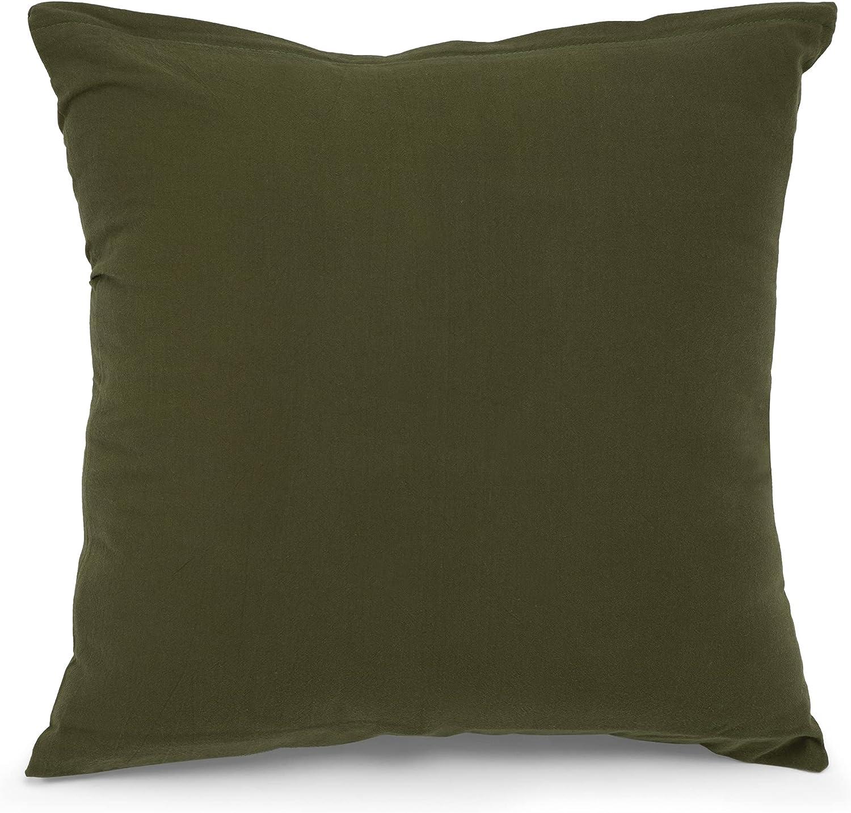ATsense Juego de 2 fundas de almohada de 80 x 80 cm – 100% algodón lavado, color verde militar, con cremallera, muy suave premium y cómoda, funda de cojín mullida