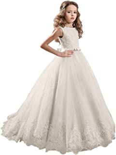 41c90bc1301 KissAngel Ivory Long Lace Flower Girl Dresses Champagne Less Party Dress