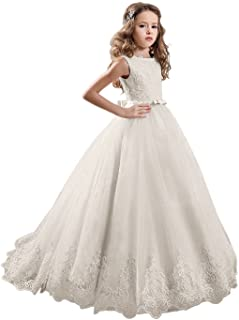 Ivory Long Lace Flower Girl Dresses Champagne Less Party Dress