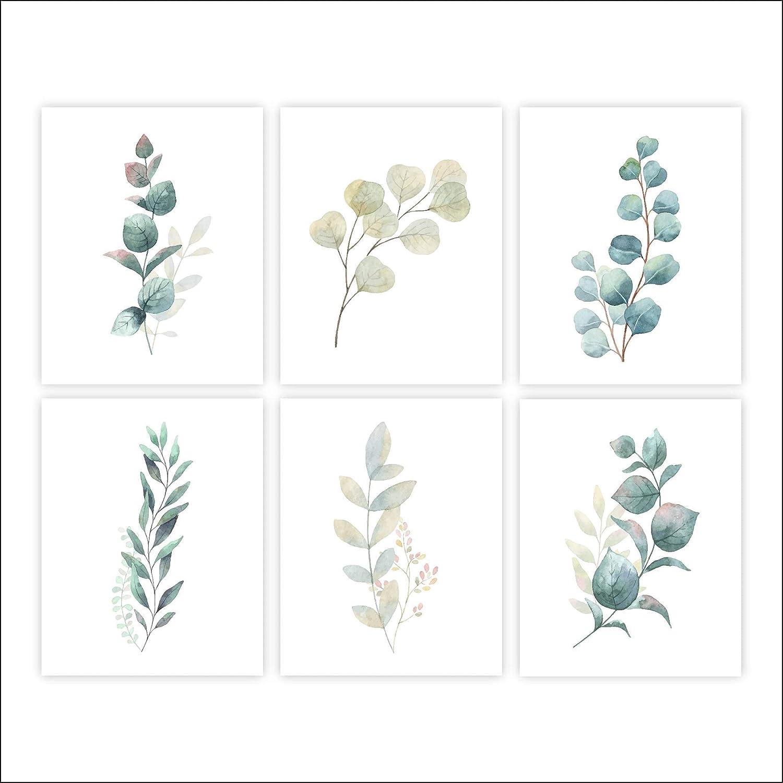Botanical Prints Ranking TOP20 Wall Art - Eucalyptus of 6 Leaves Cheap mail order sales Set Unf