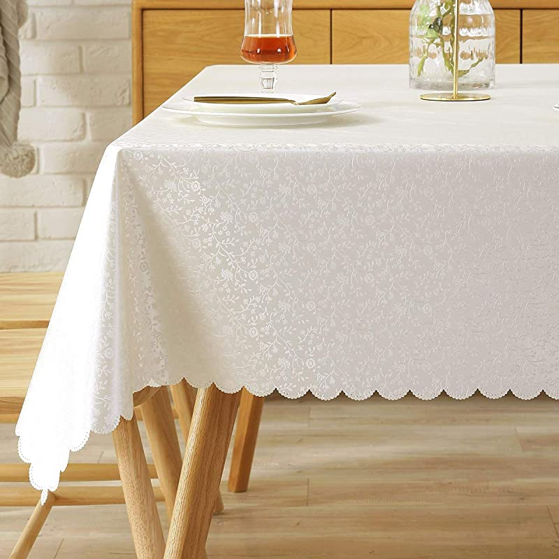 Rectangle Tablecloth Vinyl Oilcloth Picnic PVC Wipeable Plastic Spillproof Peva Oil Proof Waterproof Heavy Duty Homespun Floral Tablecloths White Flowers 8ft 54x108 Inch