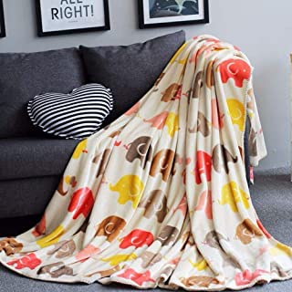LIFETOWN Fleece Throw Blanket Twin Flannel Bed Blanket Elephant Pattern Plush Cozy Bed Couch Blanket